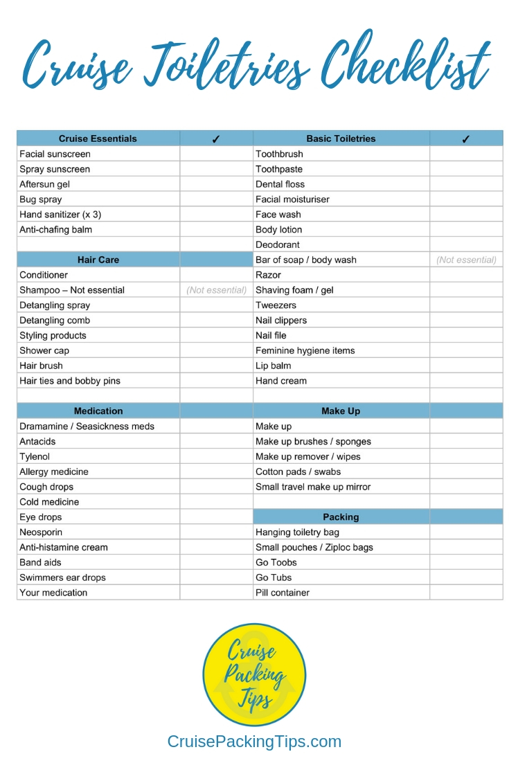 Cruise Toiletries Checklist